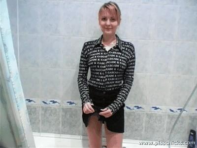 Smart Blonde Angela Tries To Pee