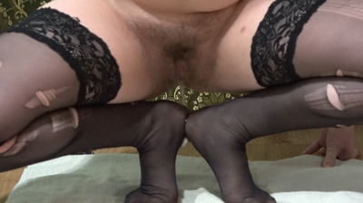 The Dame In The Torn Stockings Pisses On His Feet