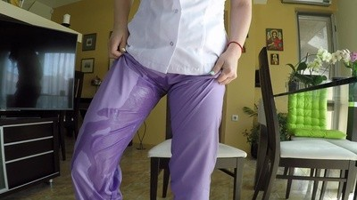 Nurse Wetting Her Pants And Packing Her Flats With Pee