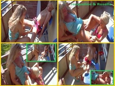 Jacqueline And Rosella Lesbo Piss Depravities And Mutual Honeypot Licking On The Balcony
