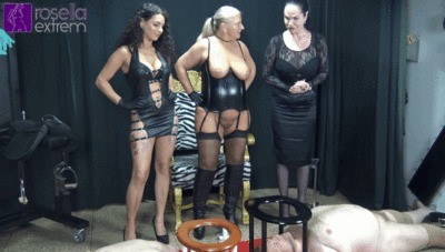 3 Dominas Poo And Piss 2 Toilet Slaves In The Mouth