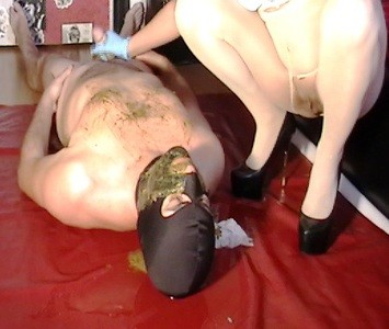 Mistress Stroke Shitty Cock With Her Diarrhea