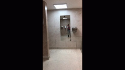 Peeing And Pussy Play In Public Toilet